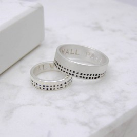 Silver Personalised Cubes His And Hers Rings