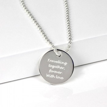 Personalised Silver Round Dog Tag Pendant