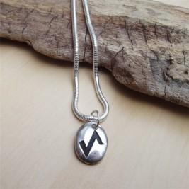 Silver Rune Stone Necklace