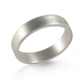Silver Wedding Band Ring Hand Forged Flat Fit