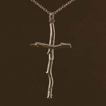 Silver Rose Root Cross Necklace