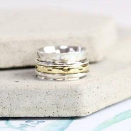 Sterling Silver And Gold Hammered Effect Spinning Ring
