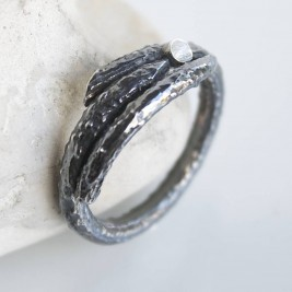 Handmade Sterling Silver Mens Woodland Branch Ring