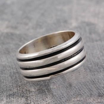 Mens Sterling Silver Spinning Ring