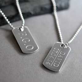 Sterling Silver Solid Dog Tag Necklace