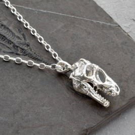 Sterling Silver T Rex Skull Necklace