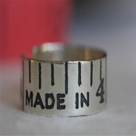 Etched Silver Vintage Style Tape Measure Ring
