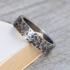 Personalised Textured Wedding Band In Oxidised Silver