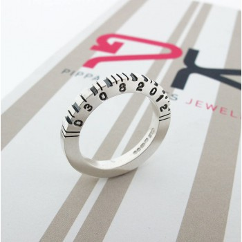 Thick Square Silver Barcode Ring