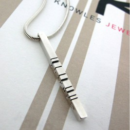Thin Silver Barcode Pendant