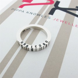 Thin Square Silver Barcode Ring