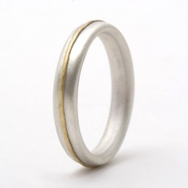 Thin Sterling Silver Ring With 18ct Yellow Gold Detail