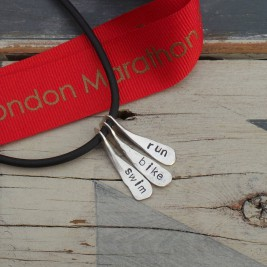 Triathlon Swim Bike Run Necklace