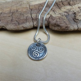 Triskelion Mens Silver Necklace