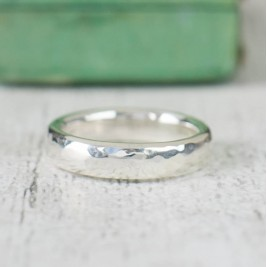 Unisex Hammered Sterling Silver Ring