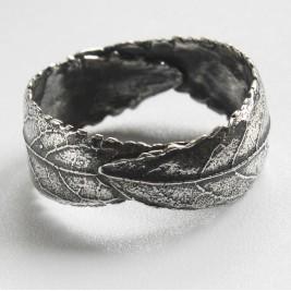 Handmade Woodland Unisex Silver Leaf Ring