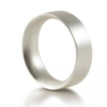 Mens Sterling Silver Wedding Ring Comfort Fit Matt
