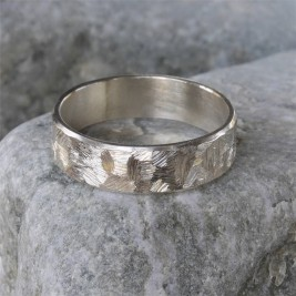 Handmade Unisex Textured Silver Band Ring