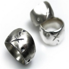Rustic Wide Silver Gnarled Ring