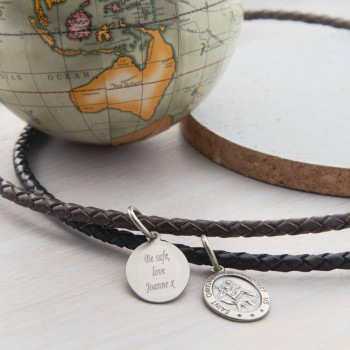 Mens Personalised Woven Leather St Christopher Necklet